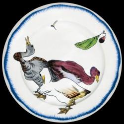 Bracquemond Canard Assiette en tole sérigraphiee