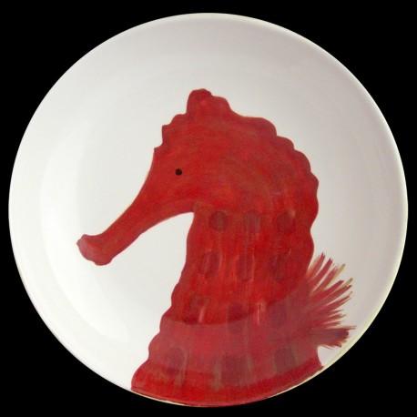Hippocampe Grand plat creux saladier D 38 cm