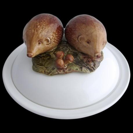 Hérissons - assiette creuse avec cloche D 23 cm