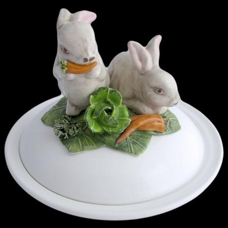Lapins blancs - assiette creuse avec cloche D 23 cm