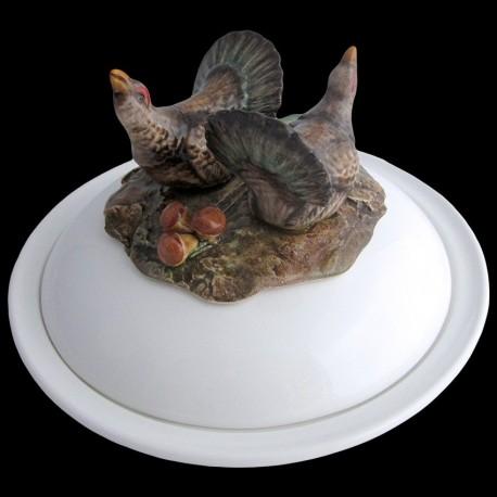 Coqs de bruyère - assiette creuse avec cloche D 23 cm