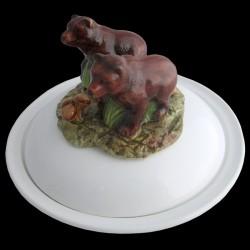 Ours bruns - assiette creuse avec cloche D 23 cm
