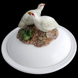 Perdrix blanches - assiette creuse avec cloche D 23 cm