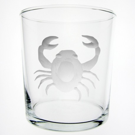Engraved glass crab