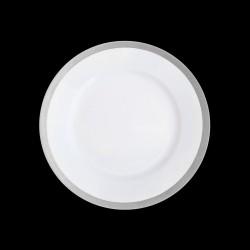 Assiette à dessert bordure platine satinée peinte à la main