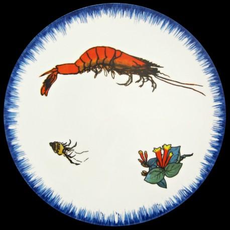 Assiette de table 26 cm Crevette, clochettes et bigorneau