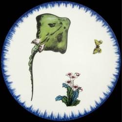 Assiette de table 26 cm Raie, primevères et papillon
