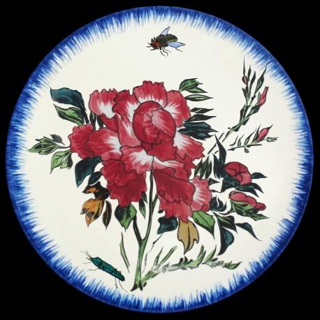 Assiette à dessert 23 cm Pivoine rouge, mouche