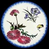 Majolica dessert plate carnation, cornflower and yellow chicken