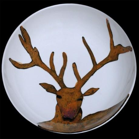 Deer big round deep dish D 38 cm