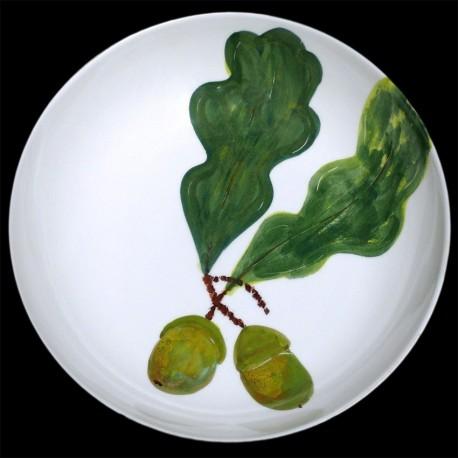 Feuille de chêne Grand plat creux saladier D 38 cm