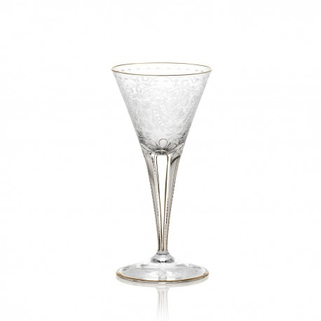 Verre à eau gravé san filet or en cristal 190 ml collection MAHARANI