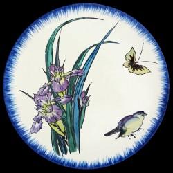 Глубокая тарелка 21,5 см Фиолетовый ирис, воробей и бабочка