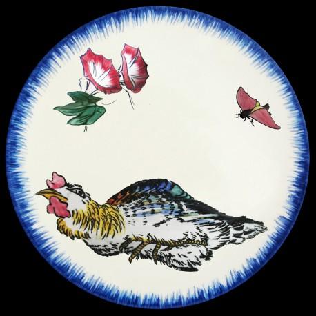Assiette creuse 21,5 cm Iris mauve, moineau et papillon