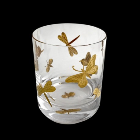 Verre à whisky papillon peint or