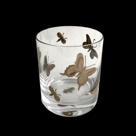 Verre à whisky insectes peint platine