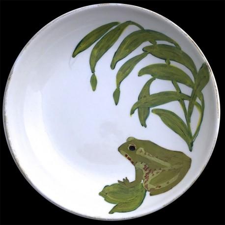 Majolica frog round dish