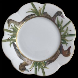 Limoges porcelain dessert plate Nymphea ducks