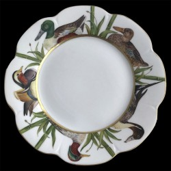 Limoges porcelain dinner plate Nymphea duck