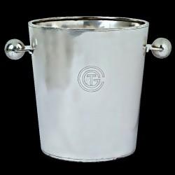 Seau champagne paquebot Normandie gravé CGT en métal argenté Christofle 1932 design Luc Lanel