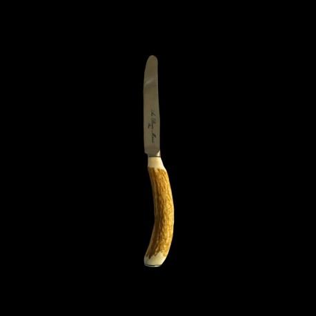 Couteau à dessert lame lisse ronde bois de cerf