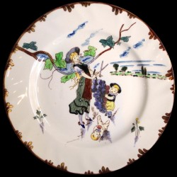 """Dessert plate """"Le Parisien"""" 19th century Creil"""