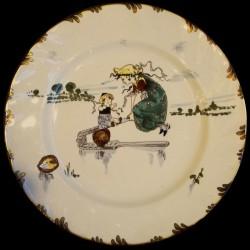 """Dinner plate """"Le Parisien"""" 19th century Creil"""