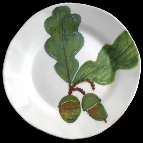 Majolica oak leaf dessert plate
