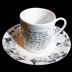 Coffee cup and saucer, four black gift boxes