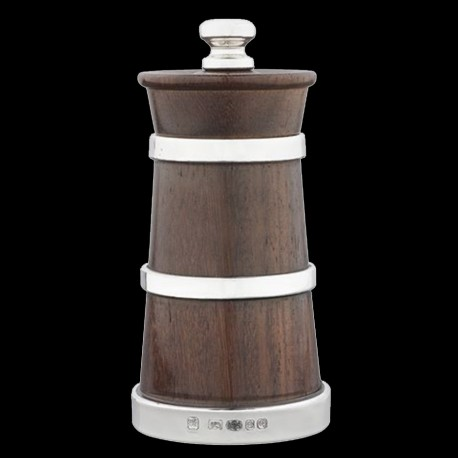 Rosewood pepper mill with silver rim