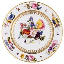 """Assiette en tôle """"Musées"""" Fleurs à fond blanc Victoria and Albert museum"""