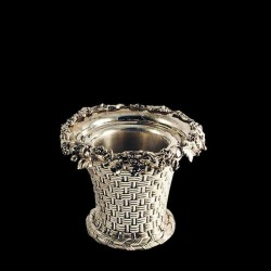 EChampagne bucket in silver metal, wicker pattern and bunches of grapes, Elkington & co., Circa 1865
