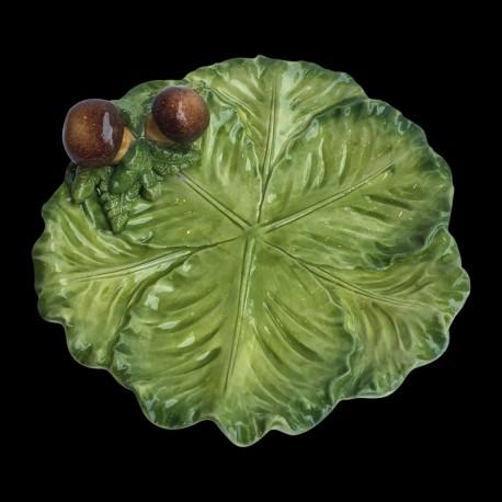 Majolica small cabbage plate Mushrooms