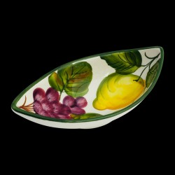 Majolica Lemons & Grapes small serving dish
