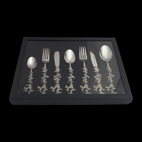 Sef of 7 cutlery pieces coral pewter