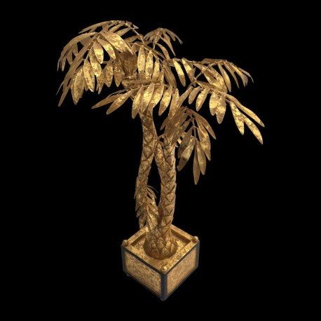 Gilted palm table centerpiece