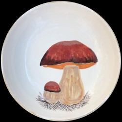Majolica porcini mushrooms large round dish