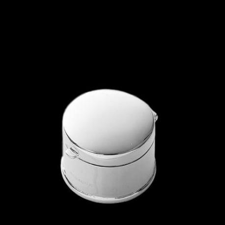 Boîte à pilules ronde bombée D 2,5 cm argent