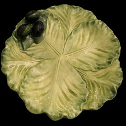 Small cabbage majolica plate olives