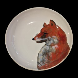 Large round dish Fox