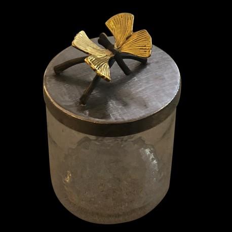 Boîte en verre couvercle avec brindille papillon