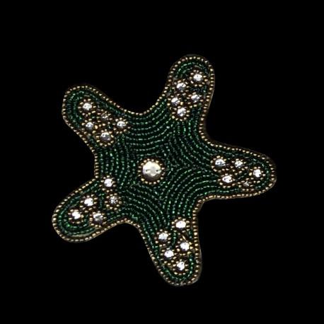 Dessous de verre perlé Etoile verte