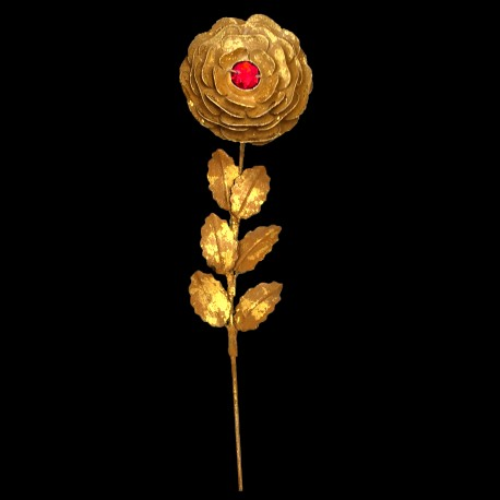 Golden rose branch with red heart