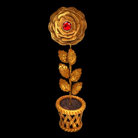 Golden rose pot with red heart