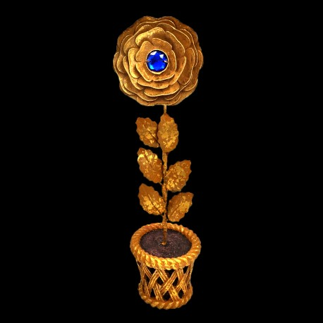 Golden rose pot with blue heart
