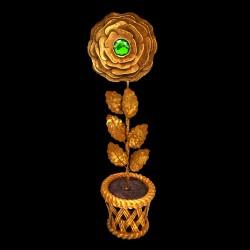 Golden rose pot with green heart