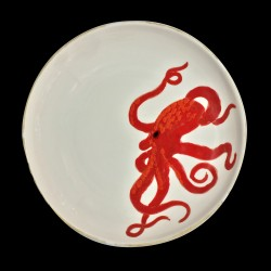 Majolica Octopus large round dish