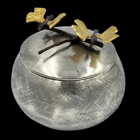 Boîte ronde couvercle brindille 2 papillons