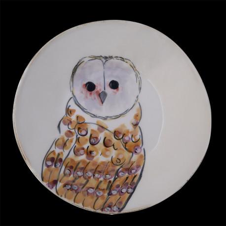Majolica owl deep plate