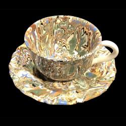 Tasse et sous tasse dentelée multicolore terre mêlée collection Epice forme disque et dentelé